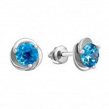 Серебряные серьги-пуссеты Подарок с голубыми топазами