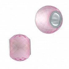 Серебряный шарм Утро с розовым муранским стеклом