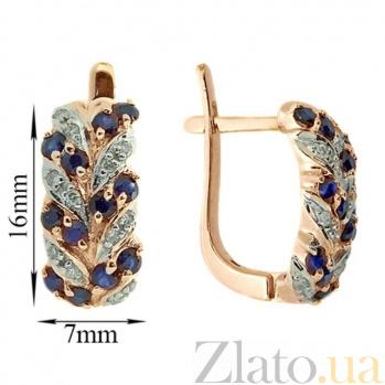 Золотые серьги Колосок в красном цвете с сапфирами и бриллиантами ZMX--ES-15431_K