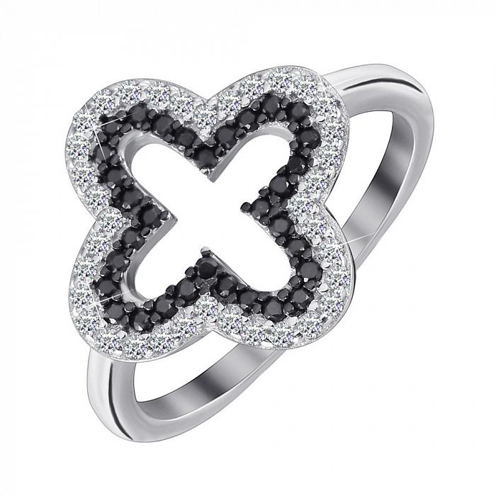 Серебряное кольцо Глория с черными и белыми фианитами в стиле Ван Клиф 000070085
