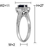 Кольцо из белого золота Белинда с сапфиром и бриллиантами