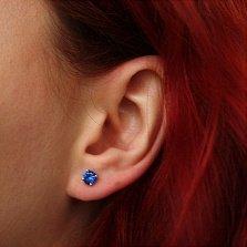 Серебряные серьги-пуссеты Оманис с синим цирконием