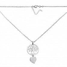 Серебряное колье Узорное дерево с подвеской-листиком и возможностью регулировки размера