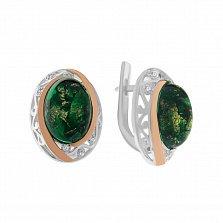 Серебряные серьги Симона с синтезированными зелеными опалами и фианитами
