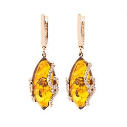 Сережки-підвіски Селену з червоного золота з коньячним бурштином і фіанітами 000082667