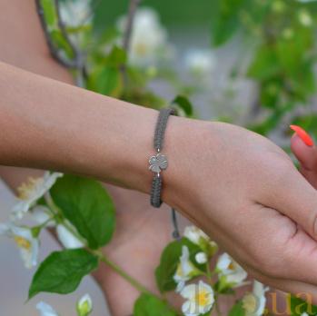 Детский плетеный браслет с серебряной вставкой Листок клевера с фианитом, 10х20см 000080668