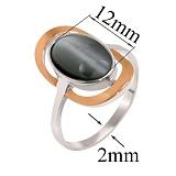 Серебряное кольцо с улекситом и золотой вставкой Тунис