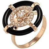 Золотое кольцо Дели с агатом и фианитами