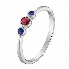 Кольцо в белом золоте Паула с рубином и сапфирами