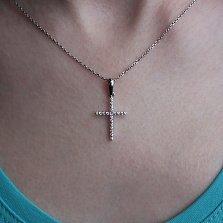 Крестик в белом золоте  Милость с брилиантами