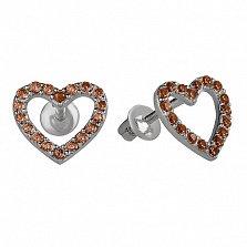 Серебряные пуссеты Любимые с коньячным цирконием