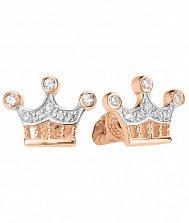 Золотые серьги-пуссеты Корона с тремя зубцами в комбинированном цвете с фианитами