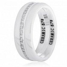 Керамическое кольцо Ронолда с серебром и цирконием