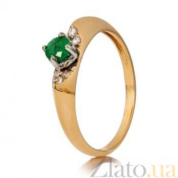 Золотое кольцо с изумрудом и бриллиантами Жакуй 000030098