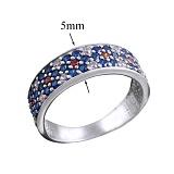 Серебряное кольцо-вышиванка с фианитами Идилия любви