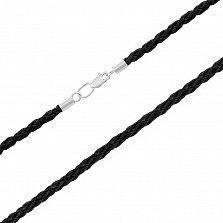 Шнурок из плетеной черной кожи и серебра 000117757