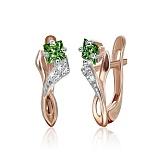 Позолоченные серебряные сережки с зеленым цирконием Жаклин