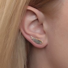 Серебряные черненые каффы Крылья с золотыми накладками