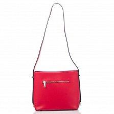 Кожаная сумка на каждый день Genuine Leather 8619 красного цвета с одним отделением на молнии