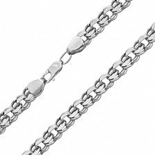 Серебряная родированная цепочка Бисмарк с алмазной гранью, 4мм (925 проба)