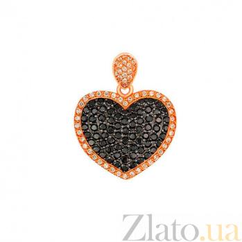 Золотой кулон Сердце Амура в красном и черном цвете с черными и белыми фианитами VLT--Т3359-3