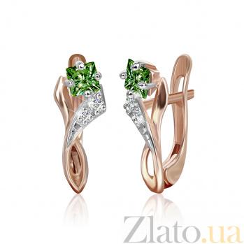 Позолоченные серебряные сережки с зеленым цирконием Жаклин SLX--СК3ФИ/008