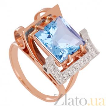 Золотое кольцо с топазом и фианитами Стиль мегаполиса VLN--112-1137-1