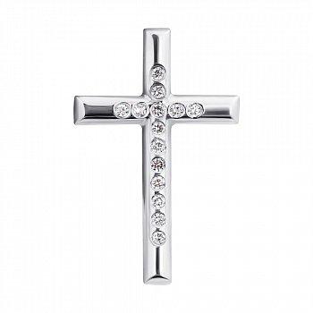 Золотий декоративний хрестик в білому кольорі з доріжкою діамантів 000104418
