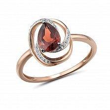 Кольцо из красного золота Маргарита с бриллиантами и гранатом