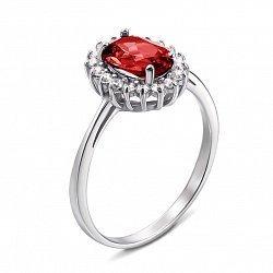 Серебряное кольцо с гранатом и фианитами 000134802