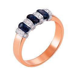 Золотое кольцо в комбинированном цвете с сапфирами и бриллиантами 000145919