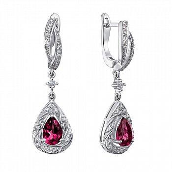 Серебряные серьги-подвески с рубинами и фианитами 000136612