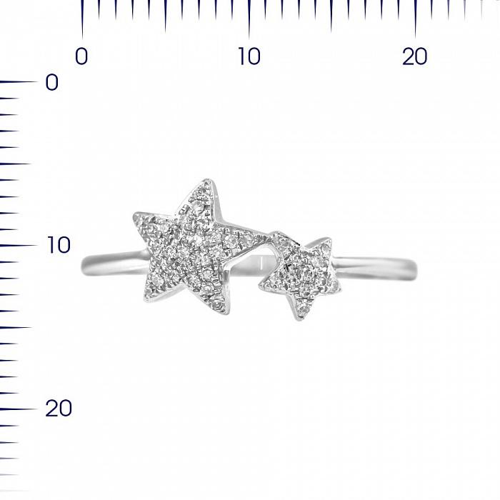 Кольцо из белого золота Две звезды с бриллиантами 000080955