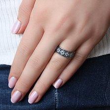 Серебряное кольцо Весенние ручьи с фианитами