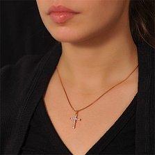 Крестик из комбинированного золота Восторг с бриллиантами
