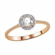 Кольцо из красного золота Дафна с прозрачным топазом и бриллиантами