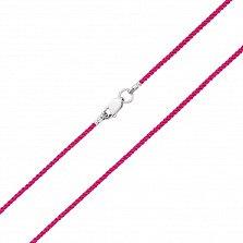 Малиновый шелковый шнурок Бриз с серебряным замком,1мм
