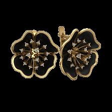 Золотые серьги Цвет ночи с черной эмалью и бриллиантами