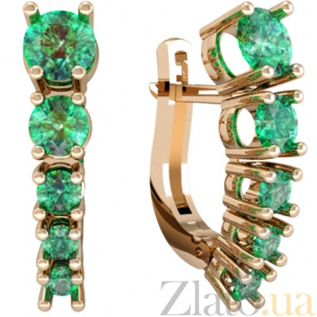 Золотые серьги с изумрудами Изабелла KBL--С2449