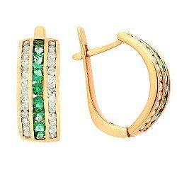 Золотые серьги с бриллиантами и изумрудами 000021899