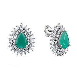 Серебряные серьги-пуссеты с изумрудами и фианитами 000117836