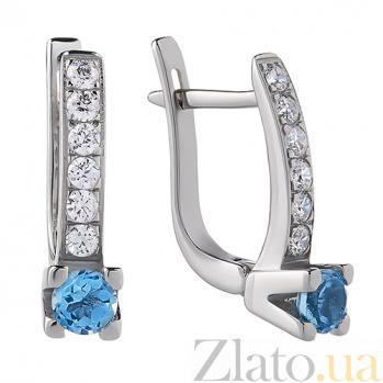 Серьги из белого золота Наяда с голубым топазом и цирконием TRF--2221546н