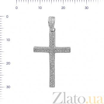 Серебряный крестик Морозное утро с фианитами 000081764