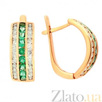 Золотые серьги с бриллиантами и изумрудами Биркан ZMX--EE-6119_K