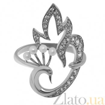 Серебряное кольцо с жемчугом и фианитами Жар Птица TNG--320848С
