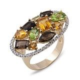 Золотое кольцо с кварцами, хризолитами и бриллиантами Амазонка
