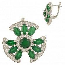 Серебряные серьги Ромуальда с зеленым агатом и фианитами