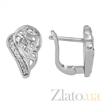 Серебряные серьги со вставкой из фианита Восхищение 10030032