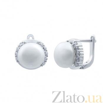 Серебряные серьги с жемчугом Зефир AQA--E00593PW