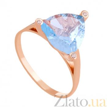 Золотое кольцо с голубым топазом и фианитами Хлоя 000024485